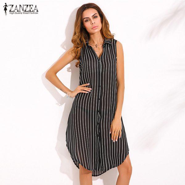 ZANZEA Newest Women Elegant Dress Ladies Lapel Neck Sleeveless