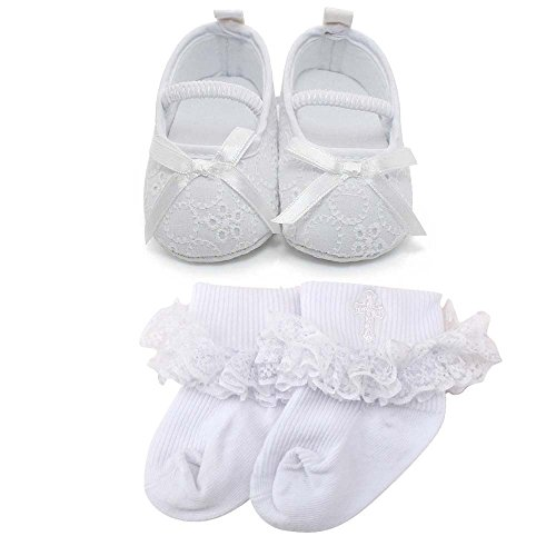 Delebao Baby Girl Infant Satin Mary Jane Baptism Shoes