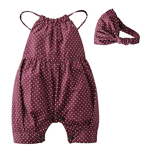 2PCS Baby Girls Dots Romper+Headband Clothes Outfits Set
