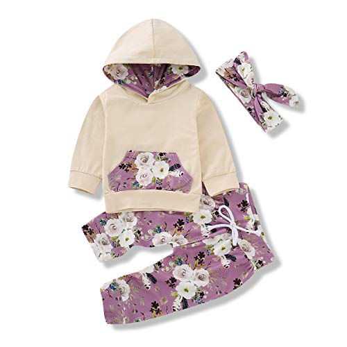 Baby Girl Clothes Long Sleeve Hoodie Sweatshirt + Floral Pants Outfit Sets