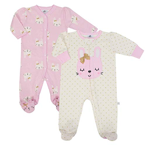 Just Born Baby Girls' 2-Pack Organic Sleep 'N Play, Bunny