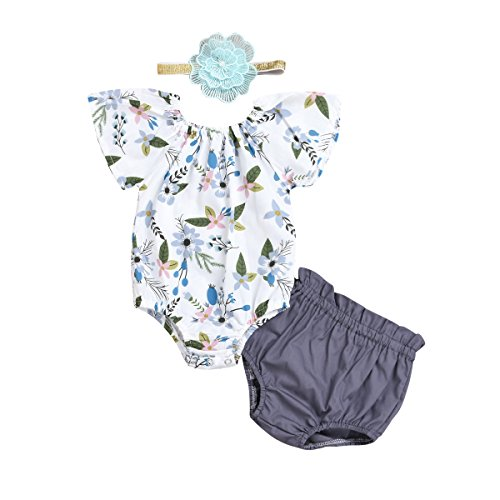 Toddler Baby Girl Romper Ruffle Floral Short Sleeve Short Pant