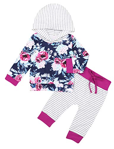 Newborn Baby Girl Clothes Long Sleeve Hoodie Floral Sweatshirt