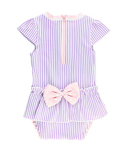RuffleButts Infant/Toddler Girls Peplum Skirt One Piece Rash Guard Swimsuit