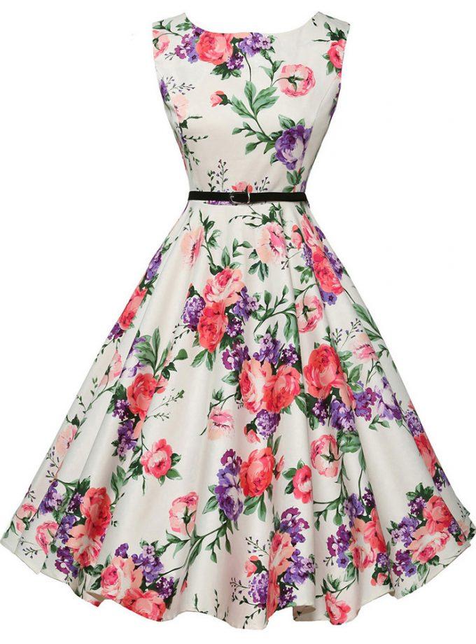 Women Summer Dress 18 Ladies Floral Retro Vintage Dresses