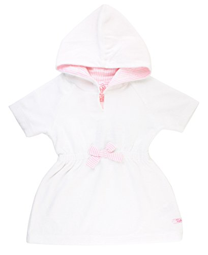 RuffleButts Baby/Toddler Girls White w/Pink Seersucker Terry Hoodie