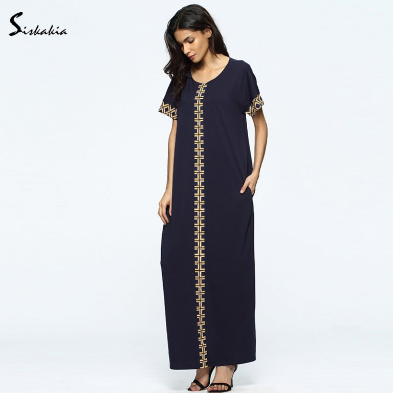 Siskakia Summer dress cotton abaya muslim clothes dress