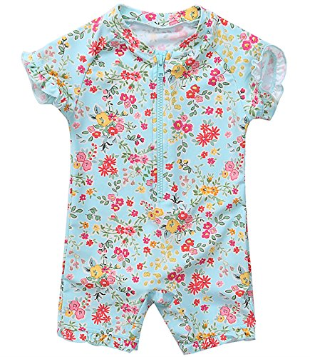 belamo Infant Girls Rash Guard Swimsuit Floral Sun Protective Shirt