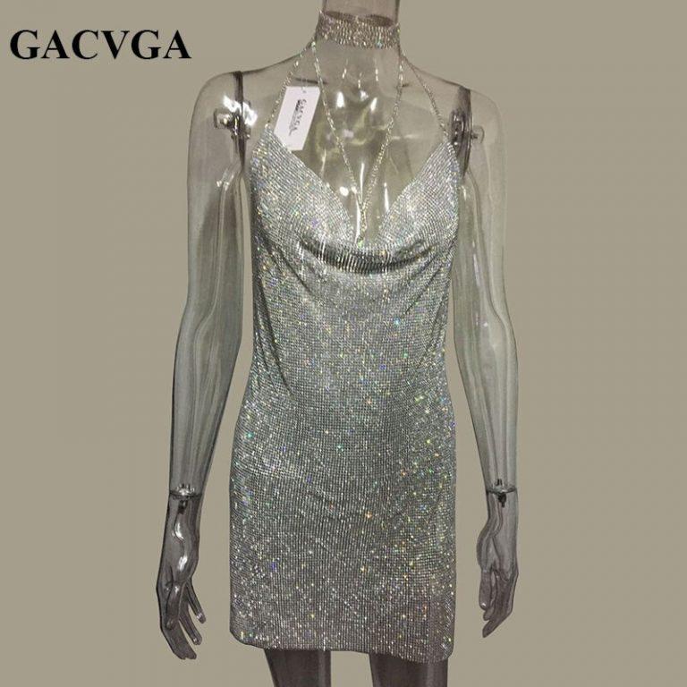 GACVGA 19 Crystal Metal Halter Shining Summer Dress