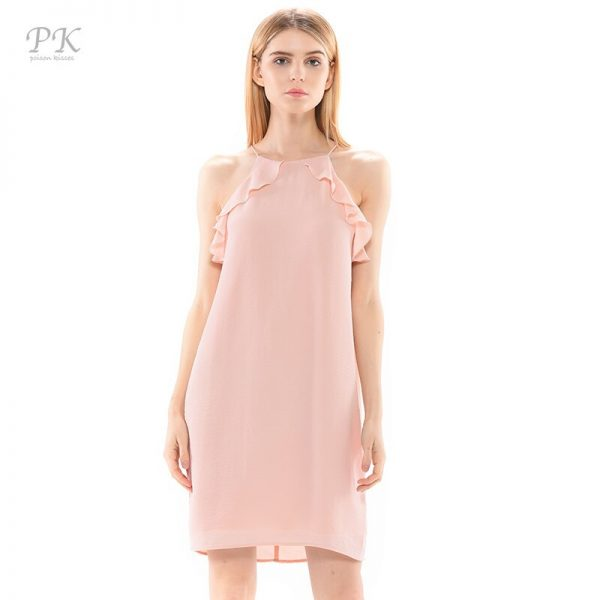 PK nude dress summer waterfall ruffles full lining party casual pink