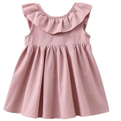 Niyage Toddler Baby Girls Cotton Tunic Dress Swing Casual Sundress Pink 90