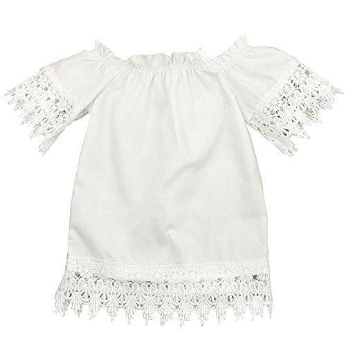 GRNSHTS Baby Girls White Off Shoulder Lace Dress