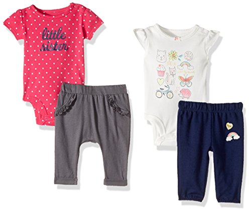 Carter's Baby Girls' 4-Piece Bodysuit and Pant Set