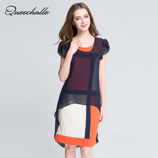Queechalle Summer Dress O-neck butterfly sleeve loose