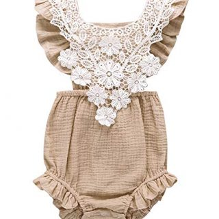 Infant Baby Girl Lace Ruffle Backless Romper Cotton One-Piece Bodysuit Outfits