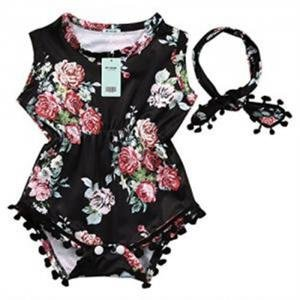 Cute Adorable Floral Romper Baby Girls Sleeveless Tassel Romper One-pieces
