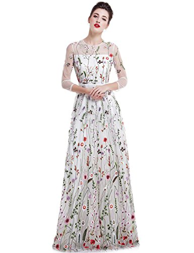 YSMei Women's Summer Embroidery Flower Long Prom Dress