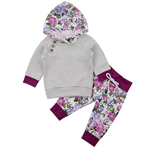 Newborn Baby Boy Girl Floral Long Sleeve Hoodie Tops Pants Clothes Set