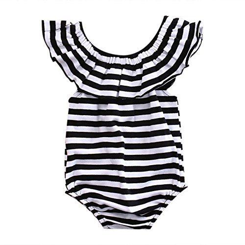 GRNSHTS Baby Girls Black and White Striped Romper Bodysuit