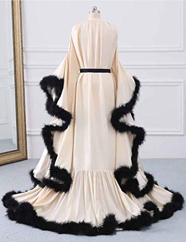 yinyyinhs Women's Feather Bridal Robe Wedding Scarf Long Lingerie Robe