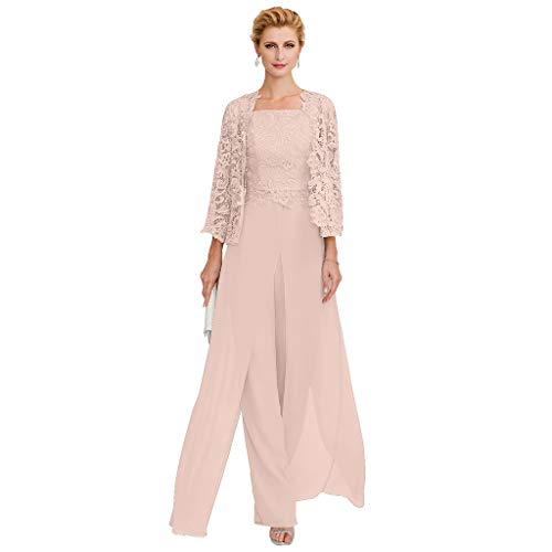 TS Pantsuit Straps Floor Length Chiffon Corded Lace