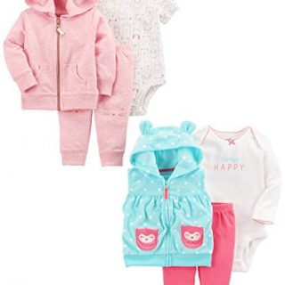 Carter's Baby Girls' 6-Piece Jacket and Vest Set, Pink Heather/Light Blue