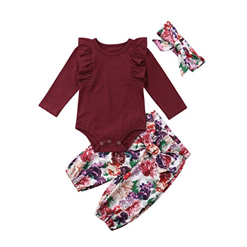 3PCS Clothes Set Newborn Toddler Baby Girl Romper Bodysuit Jumpsuit