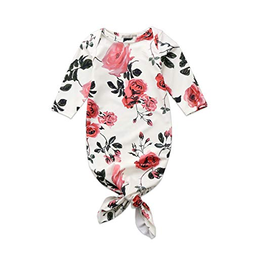 Newborn Baby Long Sleeve Floral Knotted Infant Sleepwear