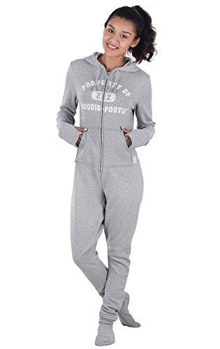 PajamaGram Onesie Pajamas for Women - Varsity Onsie, Gray