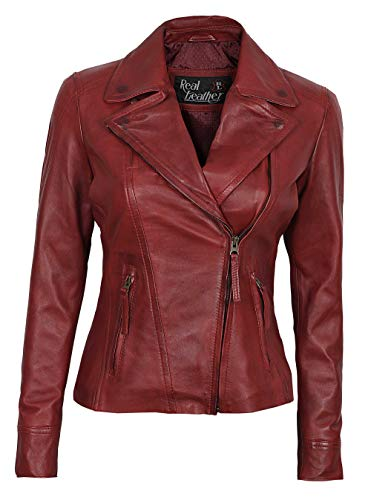 Womens Red Asymmetrical Jacket - Genuine Lambskin Women Jakcet