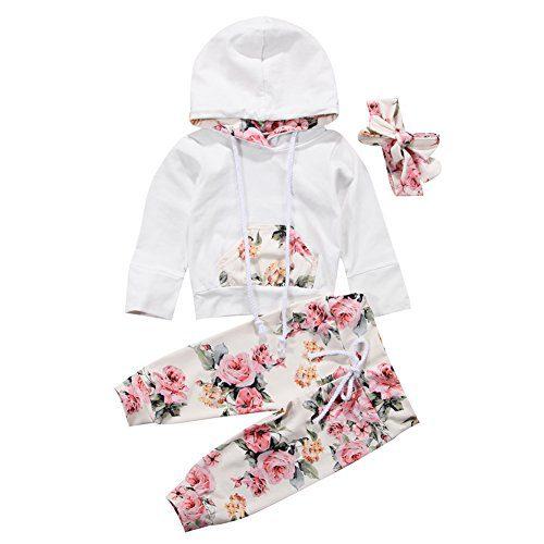 BiggerStore 3Pcs/Set Infant Baby Girl Long Sleeve Hoodie