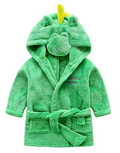 Little Boys Girls Bathrobes,Toddler Kids Cartoon Hooded Plush Robe