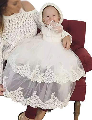 Aorme Baptism Dress Beading Lace Long Christening Gowns for Girls with Bonnet