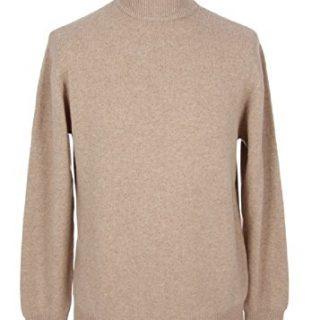 Shephe Men's Mock Turtleneck Cashmere Sweater Beige Extra Large
