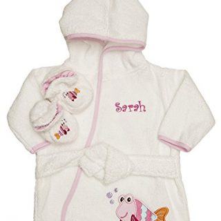 PERSONALIZED Monogrammed Pink Fish Terry Hooded Bath Robe & Slipper Set