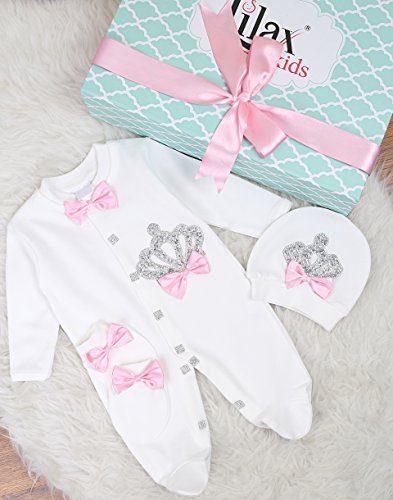 Lilax Baby Girl Newborn Crown Jewels Layette 3 Piece Gift Set 0-3 Months Pink