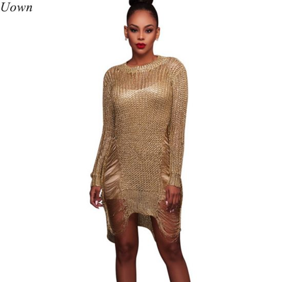 Fashion Shiny Knitted Crochet Gold Hollow Out Beach Summer Dress