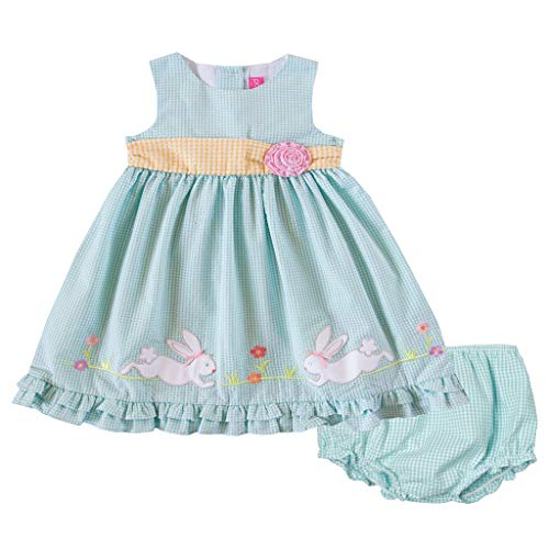 Good Lad Newborn/Infant Girls Turquoise Seersucker Dress