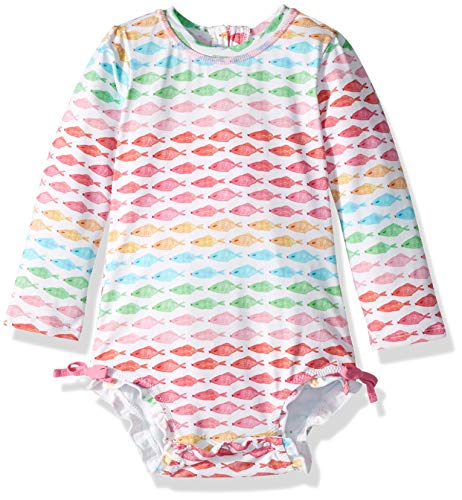 Hatley Girls Baby Rash Guard, Watercolor Fishies, 12-18 Months