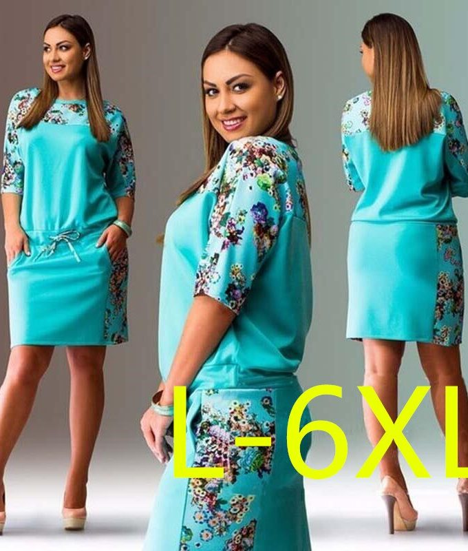 5XL 6XL Large Size Summer Dress Big Size Print Dress