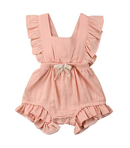 VISGOGO Toddler Baby Girl Ruffled Rompers Sleeveless Cotton Romper Bodysuit