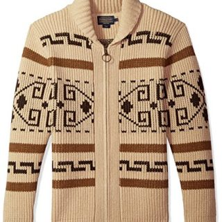 Pendleton Men's Original Westerley Sweater Tan/Brown Medium