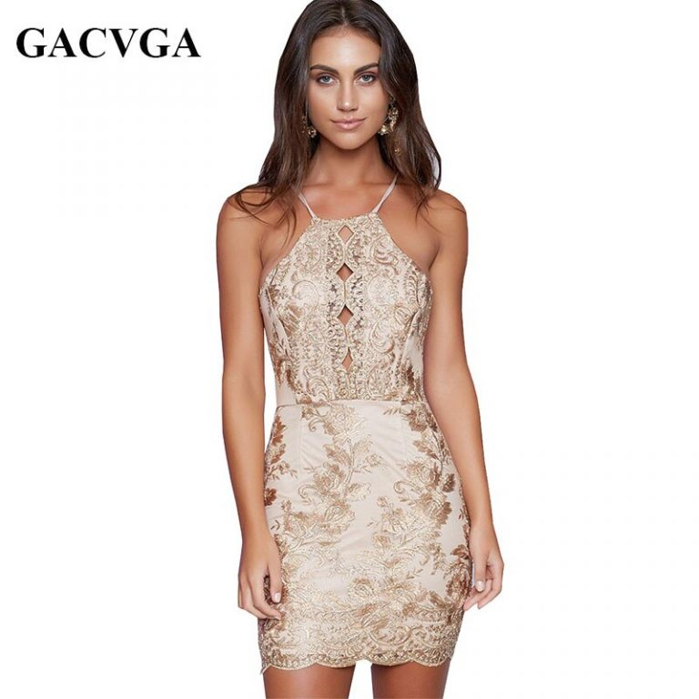 GACVGA Brand 19 Sexy Halter Embroidery Floral Summer Dress