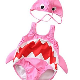 Kids Baby Boys Girls 3D Cartoon Shark One-Piece Swimsuit
