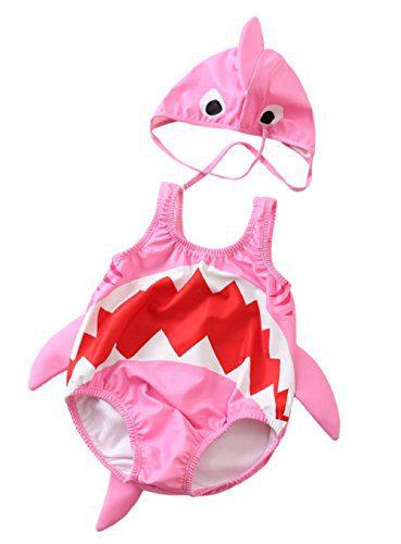 Kids Baby Boys Girls 3D Cartoon Shark One-Piece Swimsuit