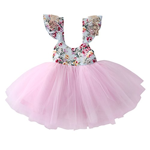 Newborn Toddler Baby Girls Floral Dress Party Ball Gown Lace Tutu