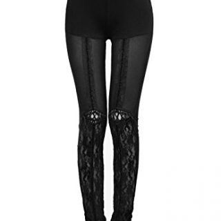Punk Rave Women's Black Gothic Victorian Sexy Floral Lace Leggings