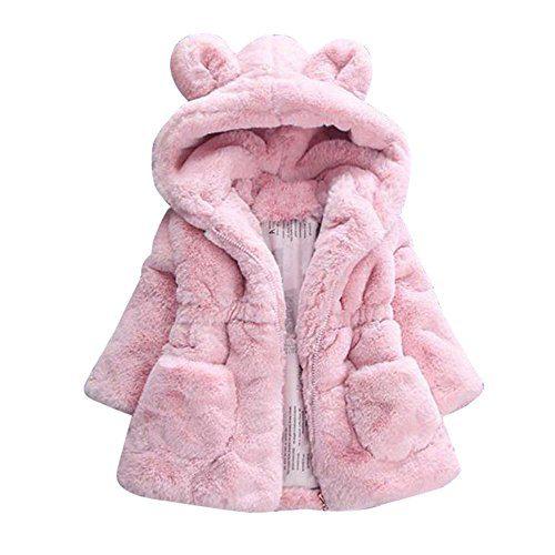 WuyiMC Cotton Coat for Girls, Kids Faux Fur Fleece Lapel Coat