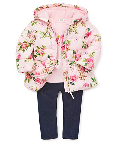 Little Me Baby Girl's Jacket Set Outerwear, pink botanical, 12 Months