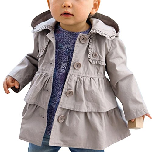 Kids Baby Girls Spring Trench Wind Dust Coat Hooded Jacket